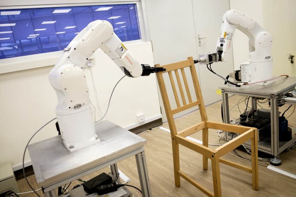 Robots assemble an Ikea chair in Singapore