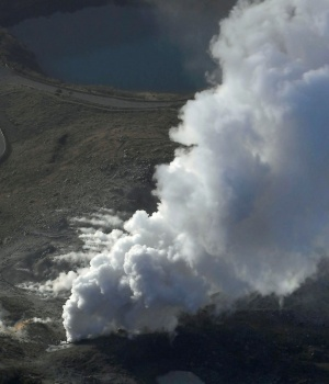 An aerial view shows Io Yama erupting in Miyazaki prefecture