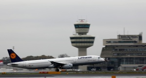 Lufthansa Airbus A321-200 plane is seen at Tegel airport in Berlin, Germany