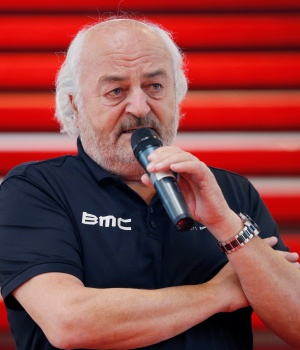 BMC Racing Team's owner Rihs of Switzerland speaks during the cycling team's official presentation in Nazareth