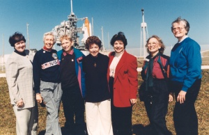 Seven members of the Mercury 13 gather outside Launch Pad 39B near the Space Shuttle Discovery at NASA's Kennedy Space Center in Cape Canaveral