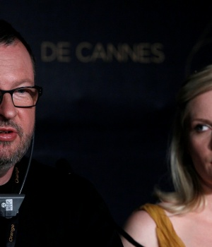 Director Von Trier and cast member Dunst attend a news conference for the film Melancholia at the 64th Cannes Film Festival