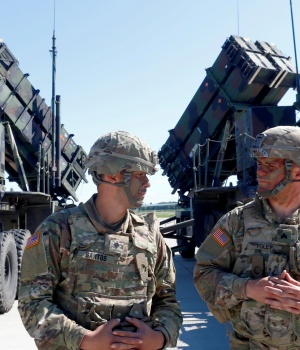 U.S. soldiers stand next to the long-range air defence system Patriot during Toburq Legacy 2017 air defence exercise in the military airfield near Siauliai