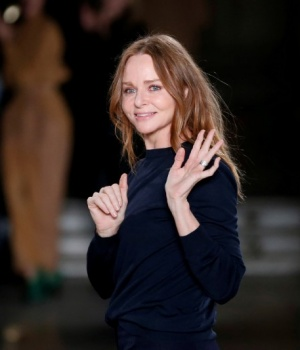 British designer Stella McCartney appears at the end of her Fall/Winter 2017-2018 women's ready-to-wear collection show during the Paris Fashion Week