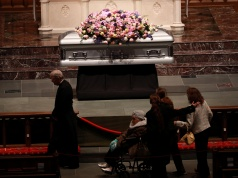 Former U.S. first lady Barbara Bush lay in repose at St. Martin's Episcopal Church in Houston