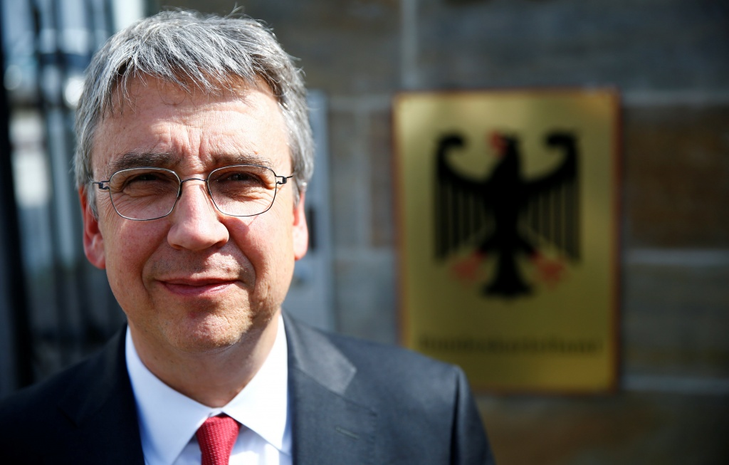 Andreas Mundt, president of Germany's Federal Cartel Office, poses for a photo in front of their office in Bonn