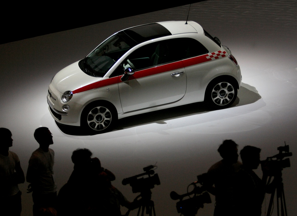 The new Cinquecento Fiat car is displayed during a press conference in Turin