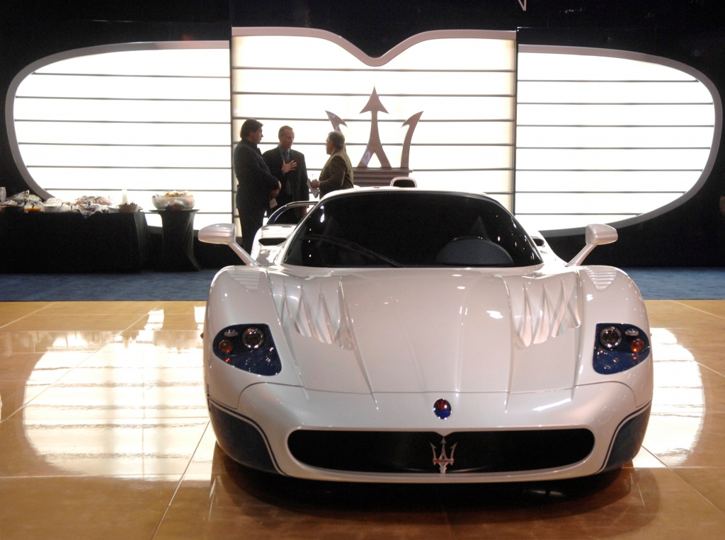 A Maserati MC12 is seen on display at the Los Angeles Auto Show in Los Angeles, California