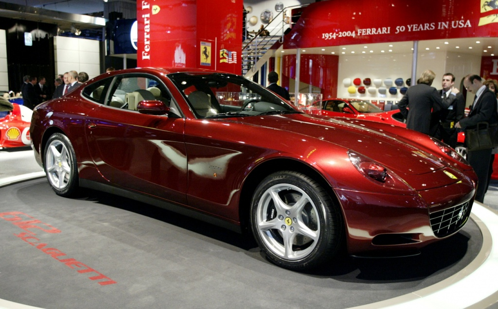 The Ferrari 612 Scaglietti is introduced January 5, 2004 during press day at the North American International Auto Show in Detroit