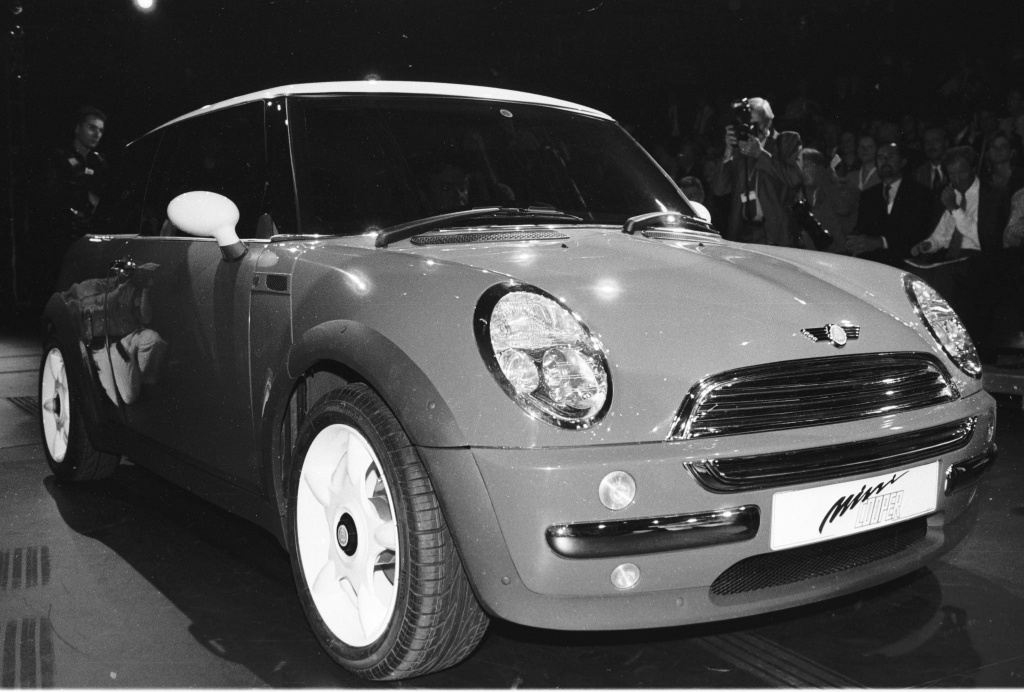 The newly designed Mini by British car manufacturer Rover is introduced at the Frankfurt International Motor Show