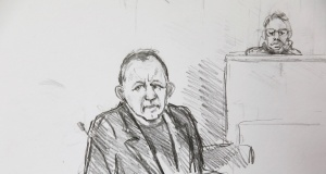 A courtroom sketch shows Peter Madsen during the trial regarding the killing of Swedish journalist Kim Wall, in Copenhagen