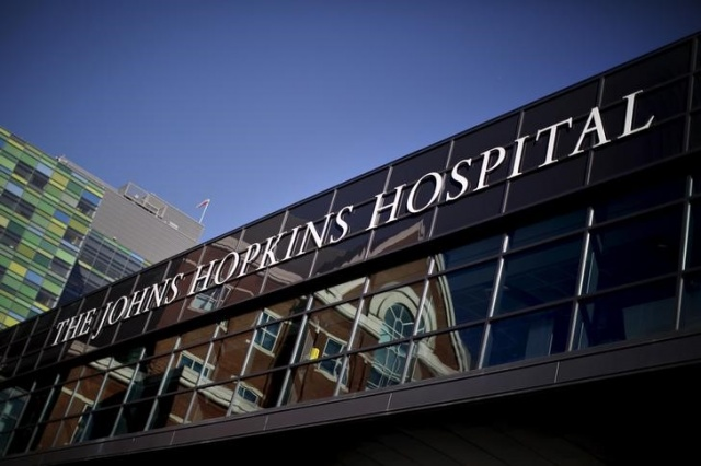 The John Hopkins Hospital is seen at a area near the downtown of Baltimore, Maryland