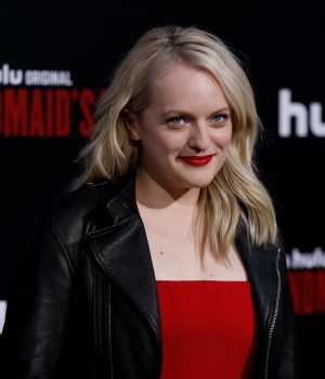 "Cast member Moss poses at the premiere for the second season of the television series ""The Handmaid's Tale"" in Los Angeles"