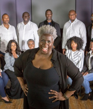 Karen Gibson and The Kingdom Choir who will be performing at the wedding of Britain's Prince Harry and Meghan Markle at St George Chapel in Windsor Castle pose for a picture in London