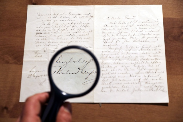 A letter handwritten by composer Richard Wagner in 1869 is seen before it is sold at an auction in Jerusalem