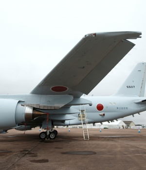 A Japanese Maritime Self-Defense Force Kawasaki P-1 maritime patrol aircraft is seen parked during the Royal International Air Tattoo at RAF Fairford
