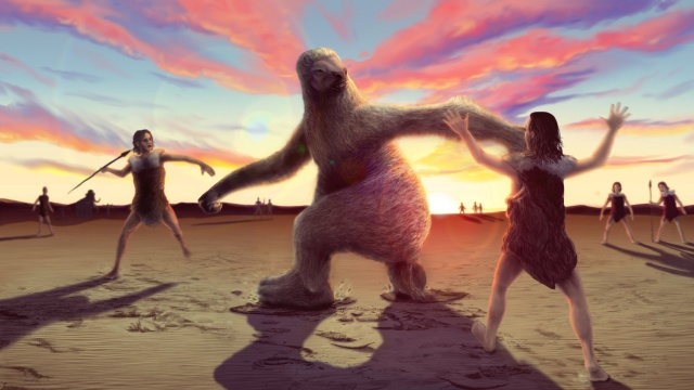 This undated handout illustration shows how human hunters stalked giant ground sloth to distract them before trying to land a killing blow. Supplied by Bournemouth University