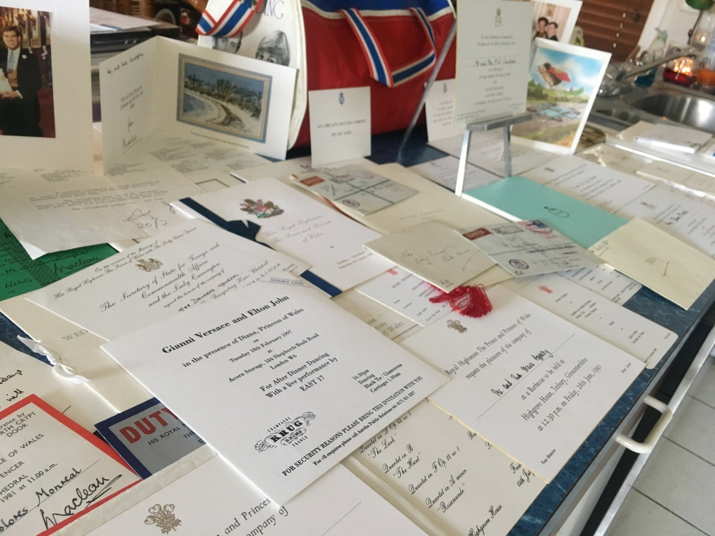 Event invitations and correspondence from Princess Diana of collector John Hoatson is shown at his home in Pompano Beach