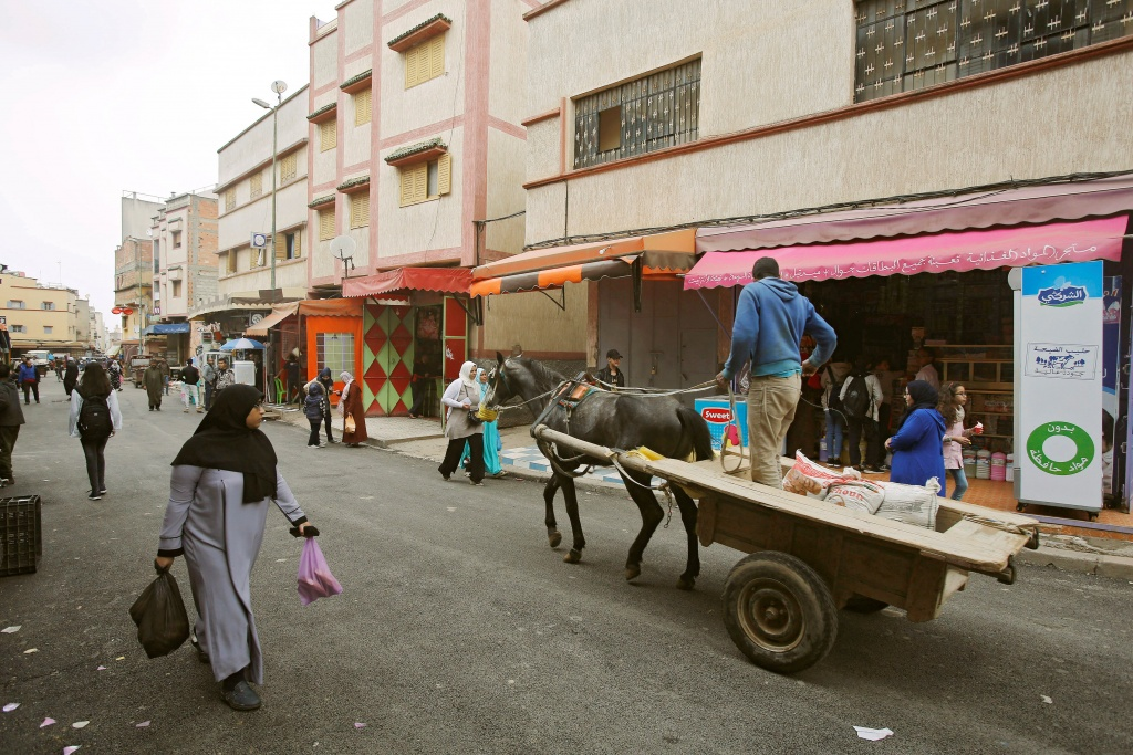 A man rides a horse cart in Ouled Moussa district, on the outskirts of Rabat