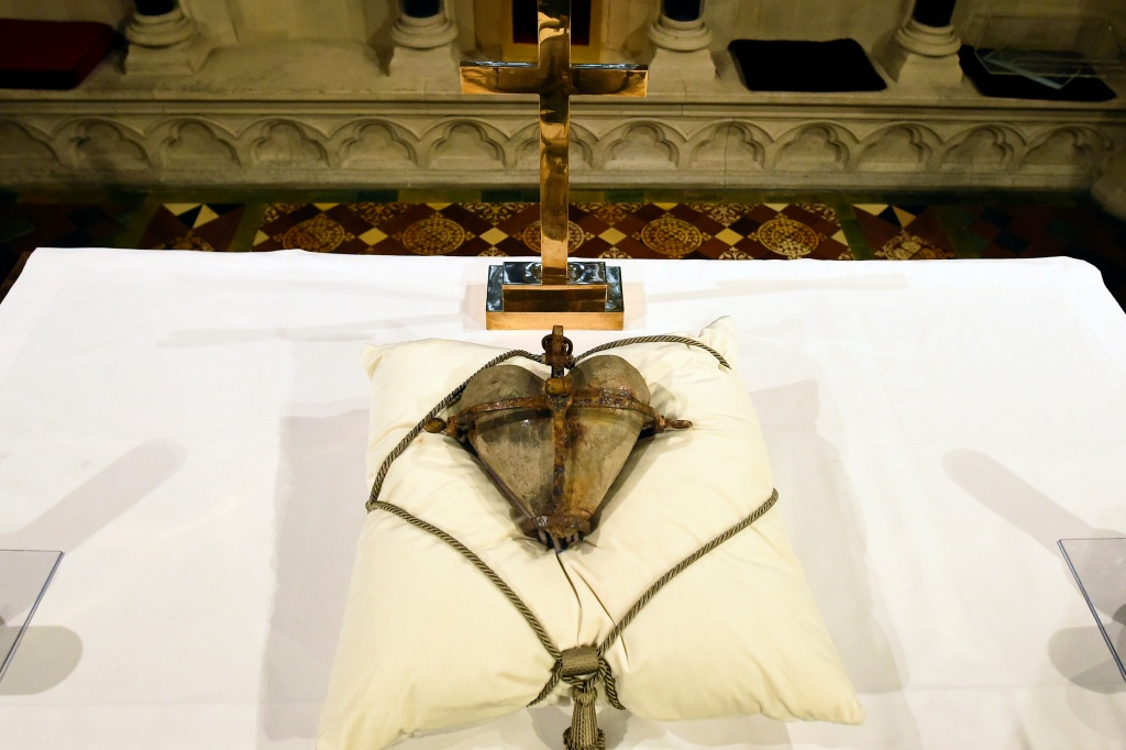 The 800-year-old heart of the patron Saint of Dublin Laurence O'Toole lies in repose returned to Christ Church Cathedral after it was stolen six years ago, in Dublin