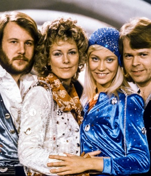 "Swedish pop group Abba: Benny Andersson, Anni-Frid Lyngstad, Agnetha Faltskog and Bjorn Ulvaeus pose after winning the Swedish branch of the Eurovision Song Contest with their song ""Waterloo"