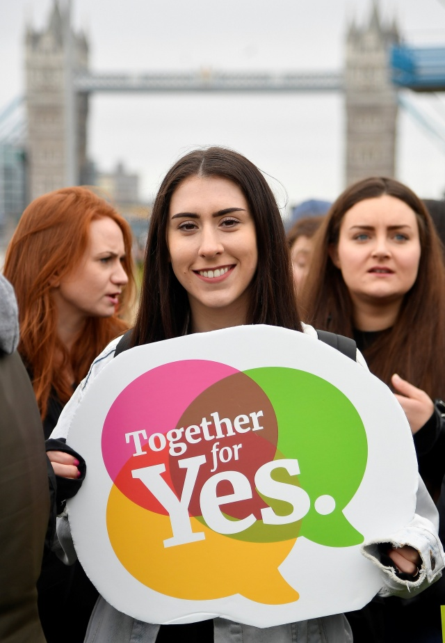 Campaigners hold placards and posters during a rally organised by the London-Irish Abortion Rights Campaign ahead of the forthcoming Irish abortion referendum, London, Britain
