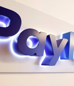 The PayPal logo is seen at a high-tech park in Beersheba
