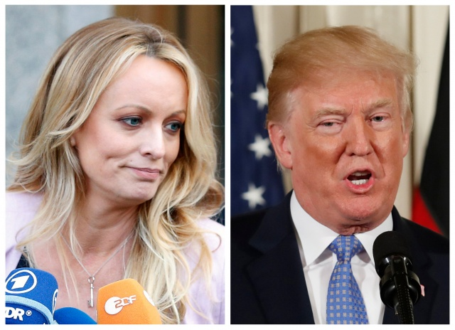 A combination photo of Stephanie Clifford, also known as Stormy Daniels and U.S. President Donald Trump