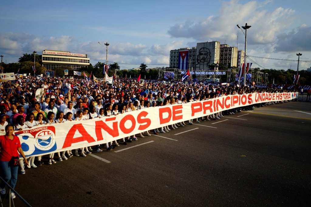 People march during the May Day rally in Havana