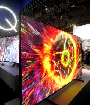 Samsung QLED televisions are displayed during the 2017 CES in Las Vegas