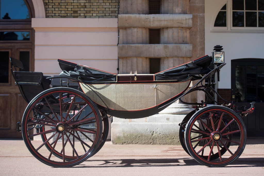 The Ascot Landau, which will be used in the case of dry weather for the wedding of Prince Harry and Meghan Markle, at the Royal Mews at Buckingham Palace, London