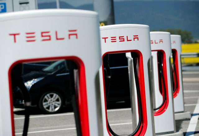 Charging stations for Tesla electric cars are seen near Estavayer-le-Lac