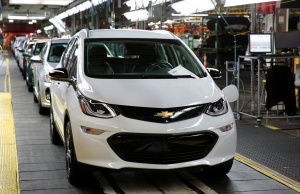 A 2018 Chevrolet Bolt EV vehicle is seen on the assembly line at General Motors Orion Assembly in Lake Orion, Michigan,
