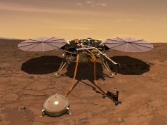 The Mars InSight probe in artist's rendition operating on the surface of Mars due to lift off from Vandenberg Air Force Base
