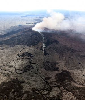 The Kilauea Volcano fissure that formed on the west flank of the Pu'u 'O'o cone after the volcano erupted following a series of earthquakes over the last couple of days in Hawaiiii