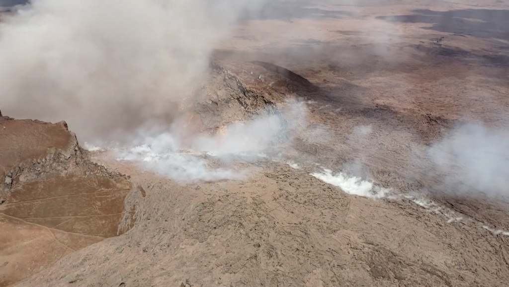 The Kilauea Volcano is seen in this aerial image in Puna, Hawaii