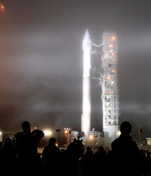 Heavy fog rolls in during tower rollback of a United Launch Alliance Atlas V rocket with InSight Mars lander onboard before lifting off from Vandenberg Air Force base in California