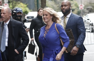 Adult-film actress Stephanie Clifford, also known as Stormy Daniels, arrives at ABC studios to appear on The View talk show in New York City