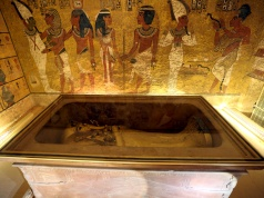 The golden sarcophagus of King Tutankhamun in his burial chamber is seen in the Valley of the Kings, in Luxor