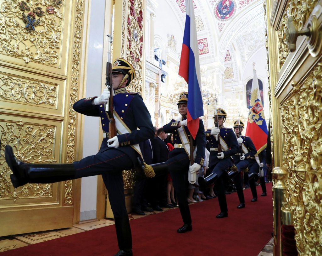 Members of the Guard of Honour of the Presidential regiment take part in a ceremony inaugurating Vladimir Putin as President of Russia at the Kremlin in Moscow