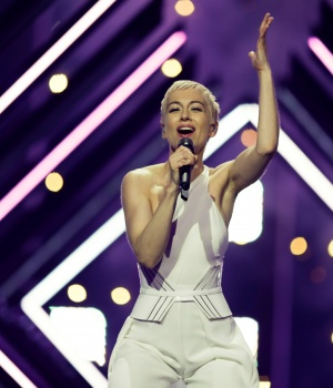 "United Kingdom's SuRie performs ""Storm"" during a dress for Eurovision Song Contest 2018 at the Altice Arena hall in Lisbon"