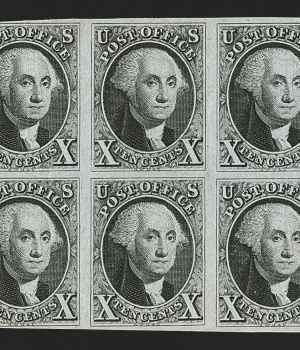 """Robert A. Siegel Auction Galleries image of a block of 1847 stamps called the """"bible block"""