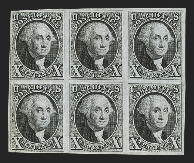 Robert A. Siegel Auction Galleries image of a block of 1847 stamps called the