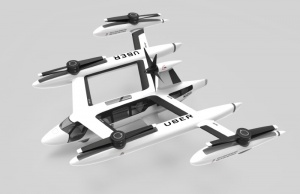 Handout photo of an artist's rendering of the Uber flying taxi concept