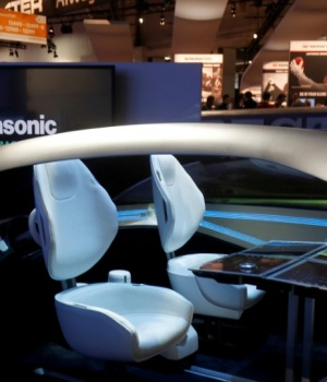 A mock-up of an autonomous car interior is shown at the Panasonic booth during the 2017 CES in Las Vegas