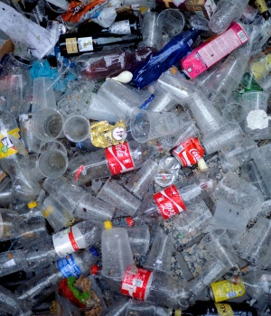 Plastic and glass waste lies on the ground during the Tamborrada in the Basque coastal town of San Sebastian
