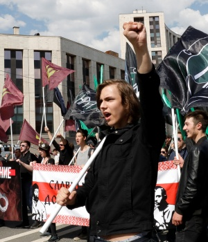 People attend a rally in protest against court decision to block the Telegram messenger because it violated Russian regulations, in Moscow