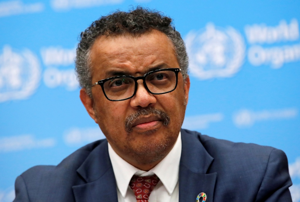 Director-General of the WHO Tedros attends a news conference in Geneva
