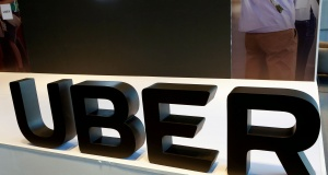 The logo of Uber is pictured during the presentation of their new security measures in Mexico City