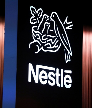 The Nestle logo is seen during the opening of the 151st Annual General Meeting of Nestle in Lausanne